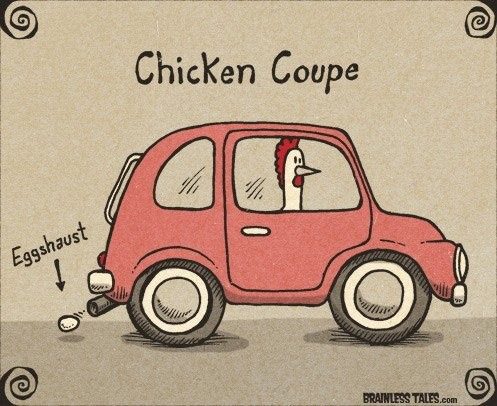 chicken car is a coupe with eggshaust